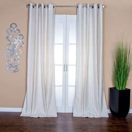 Lambrequin Sahara Cream Pinstripe Linen Blend 96 Inch Curtain Panel