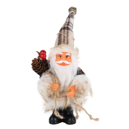 Santa Claus Outdoor or Indoor Plush Huggers Christmas Decoration, 6 in. Elegant Beige Frost Santa Claus with Lantern ()