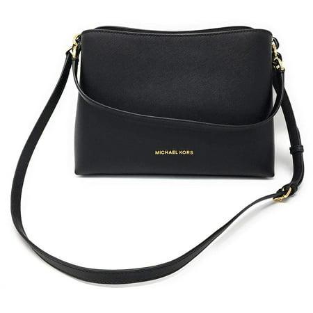 Michael Kors Sofia Large East West Satchel Leather in Black Black Demi Handbag