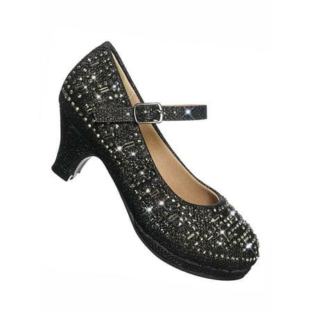 Riley78K by Forever Link, Girl's Rhinestone Encrusted Mary-Jane Dress Pump On Mesh Glitter (Mesh Puma Shoes)