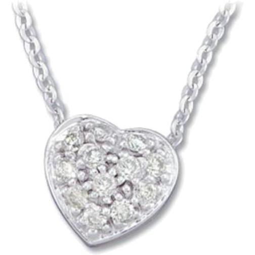 14K White Gold Diamond Heart Necklace 1 6 CTTW by