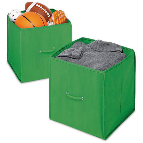 "Whitmor Set of 2 Collapsible 14"" Storage Totes, Green"