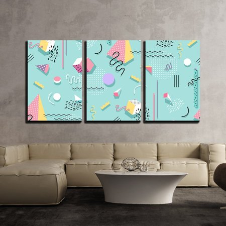 Postcards Framed Art Wall Decor - wall26 - 3 Piece Canvas Wall Art - Vector - Memphis Pattern of Geometric Shapes for Tissue and Postcards - Modern Home Decor Stretched and Framed Ready to Hang - 16