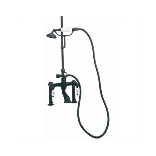 Elizabethan Classics Deck Mount Tub Faucet with Hand Shower and ''Hot'' & ''Cold'' Porcelain Lever Handles for Shower System