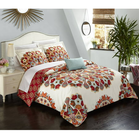 (Chic Home Henstridge 8 Piece Reversible Duvet Cover Set Microfiber Paisley Print with Contemporary Geometric Patterned Backing Zipper Bedding with Sheet Sets Decorative Shams Pillows, King Red)