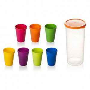 KABOER 7 Pack Travel Portable Rainbow Cup Colorful Plastic Cup Outdoor Picnic Drink Cup Kids Juice