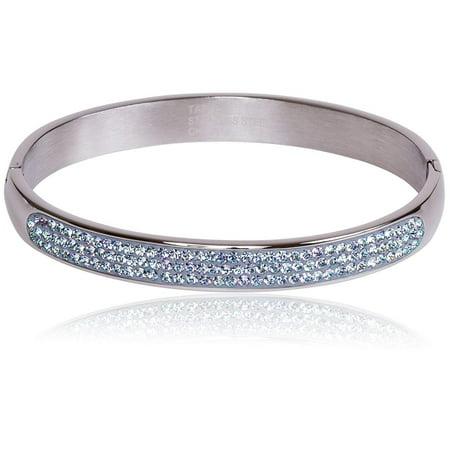 Genuine Crystal Hinged Bangle Bracelet - Stainless Steel With Crystal (See More (Crystal Hinge Bangle Bracelet)