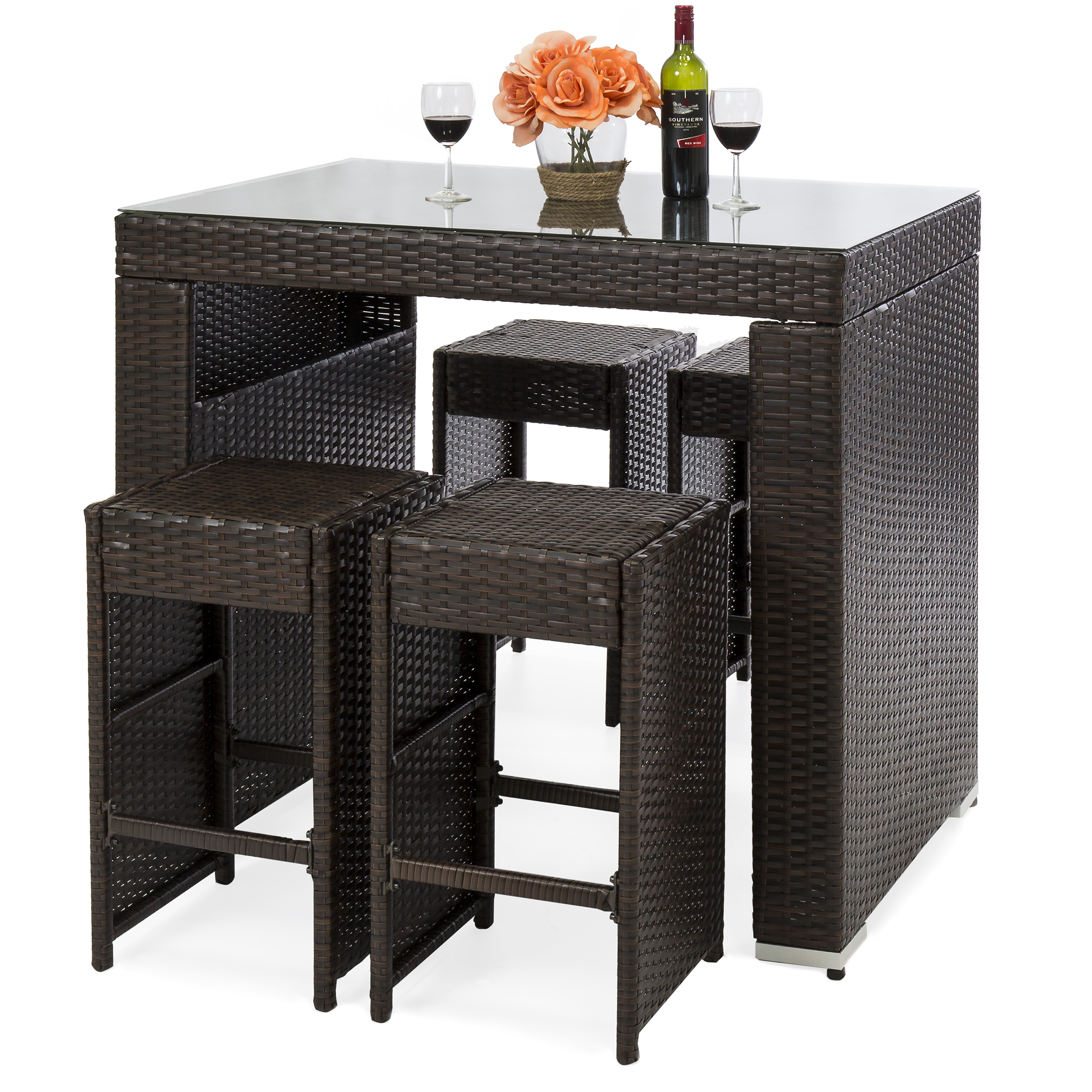 Best Choice Products 5-Piece Outdoor Wicker Dining Bar Table Set w/ Stools (Brown)
