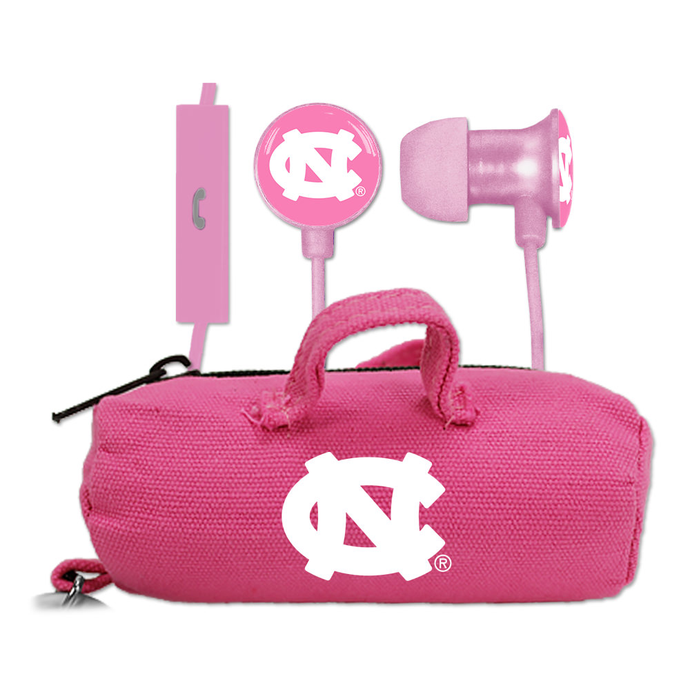 North Carolina Tar Heels Pink Scorch Earbuds + Mic with BudBag