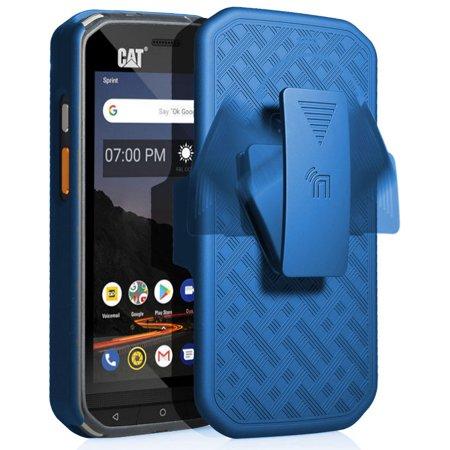 CAT S48c Case with Clip, Nakedcellphone Kickstand Cover with [Rotating/Ratchet] Belt Hip Holster Holder Combo for Caterpillar CAT S48c Phone (Verizon, Sprint, Unlocked) (Verizon Flip Phone Holster)