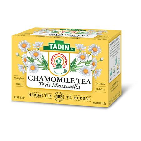 Tadin Herb & Tea Co. Chamomile Herbal Tea, Caffeine Free, 24 Tea Bags, Pack of 6