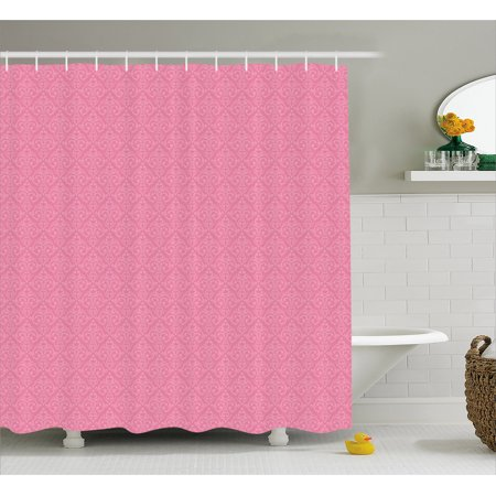 Pale Pink Shower Curtain Baroque Pattern With Damask Inspired Motifs Old Fashioned Rococo Influences
