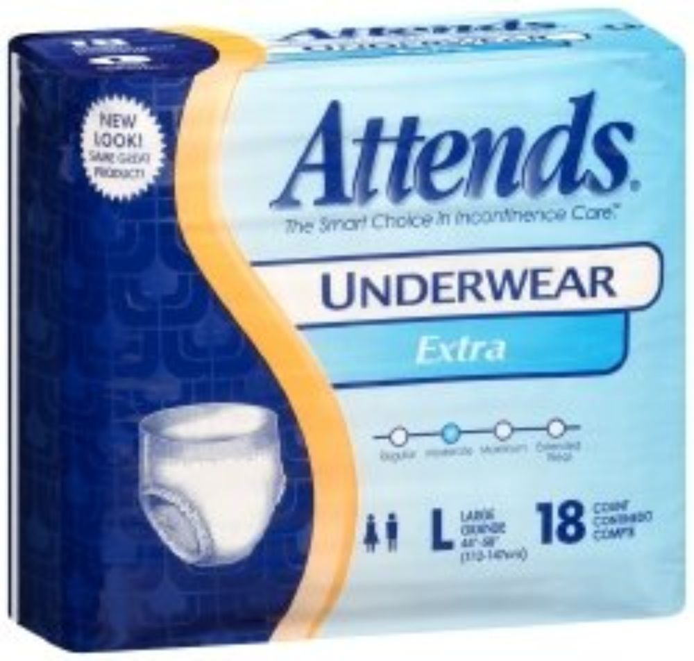 ATTENDS Absorbent Underwear Attends  Pull On Large Disposable Moderate Absorbency (#AP0730, Sold Per Case)