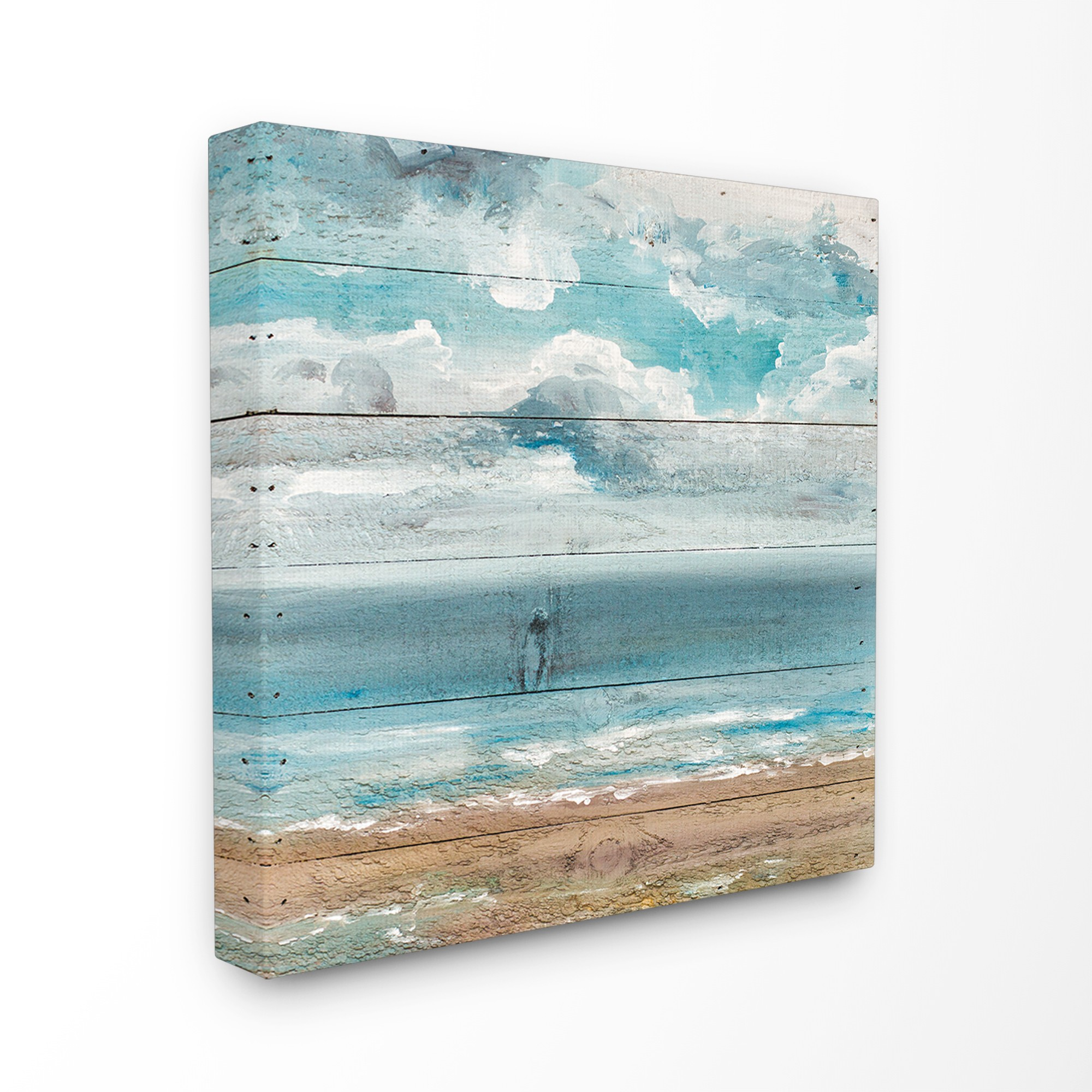 The Stupell Home Decor Collection Ocean View Painted Planked Look Stretched Canvas Wall Art, 17 x 1.5 x 17