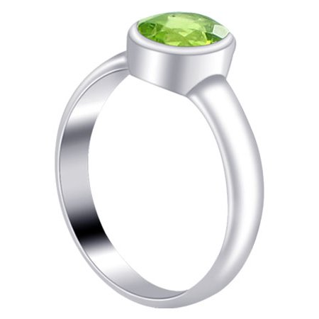 Gemstone Oval Ring - Gem Avenue Sterling Silver Polished Finish Oval Peridot Gemstone Ring