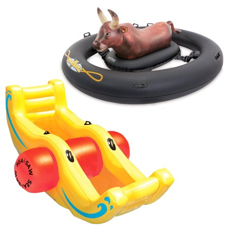 Intex Inflatabull Bull-Riding Inflatable Pool Float + Swimline Sea-Saw -