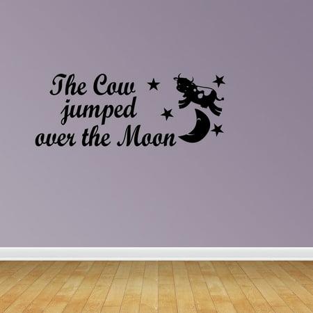 Cow Jumped Over Moon Vinyl Wall Decals Nursery Decal Nursery Rhyme PC97 (Jumping Vinyl Decal)