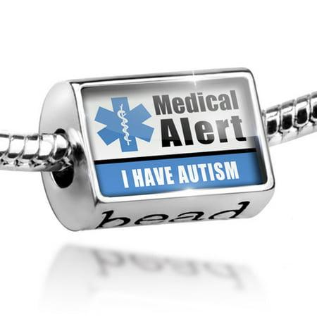 Bead Medical Alert Blue I have Autism Charm Fits All European Bracelets (Autism Charms)