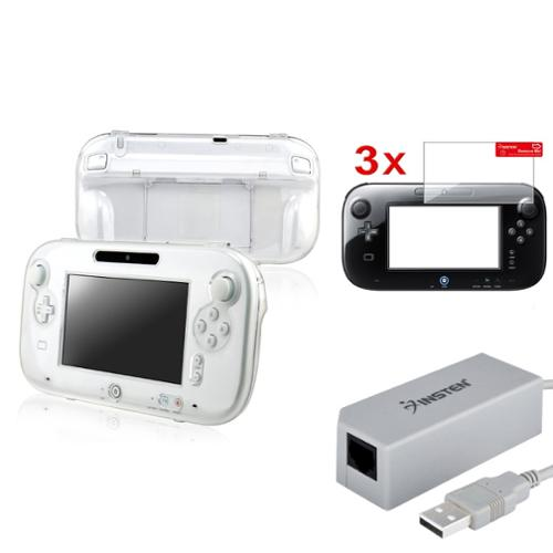 Insten USB Lan Ethernet Adapter+Crystal Case+3pc Clear Screen Protector For Wii U