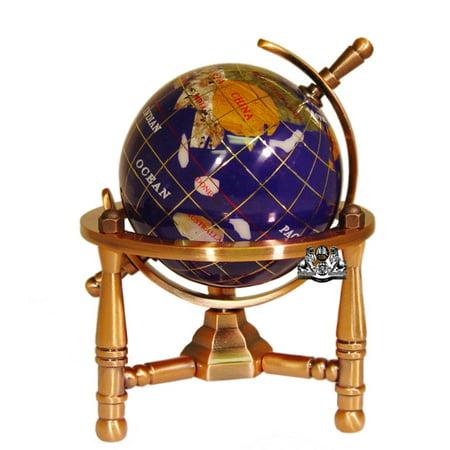 Unique Art 6-Inch Tall Blue Lapis Ocean Mini Table Top Gemstone World Globe with Copper Tripod Stand (Mini Globes)