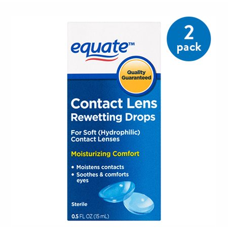 (2 Pack) Equate Contact Lens Rewetting Drops, 0.5 Oz (Contact Lens Liquid)