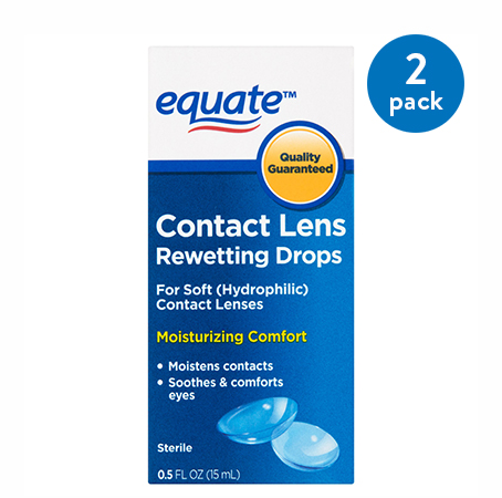 (2 Pack) Equate Contact Lens Rewetting Drops, 0.5 Oz
