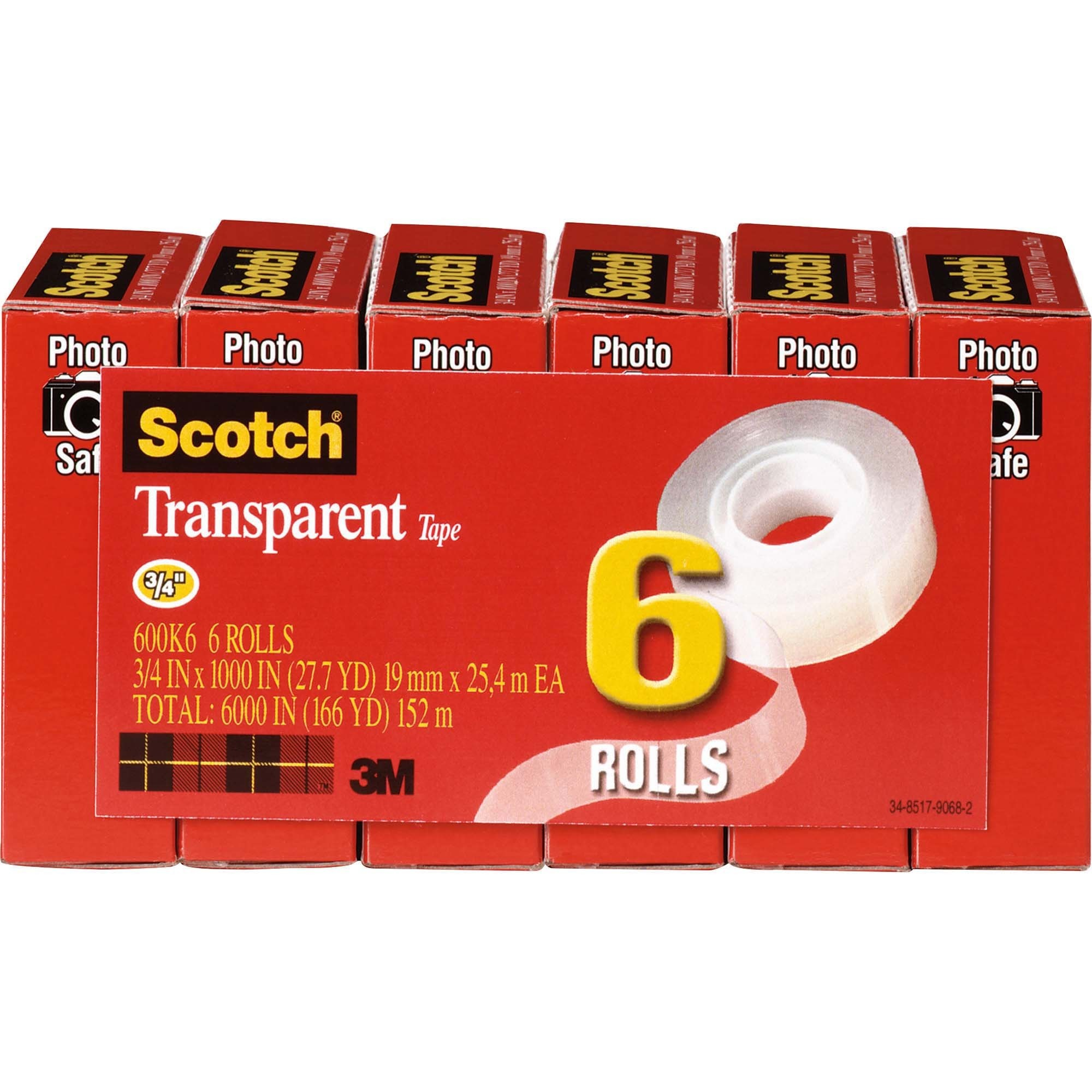 Scotch, MMM600K6, Glossy Transparent Tape, 6 / Pack, Clear