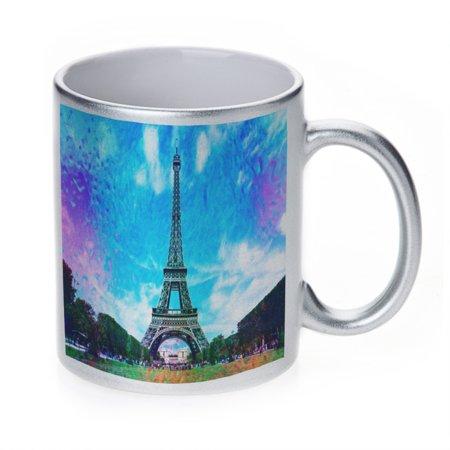 KuzmarK Silver Sparkle Coffee Cup Mug 11 Ounce - Eiffel Tower France ()