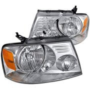 OE Replacement Headlights Head Lamps Chrome Housing Clear Lens Made For And Compatible With 2004 - 2008 Ford F-150 F150 Lincoln Mark LT 04 05 06 07 08