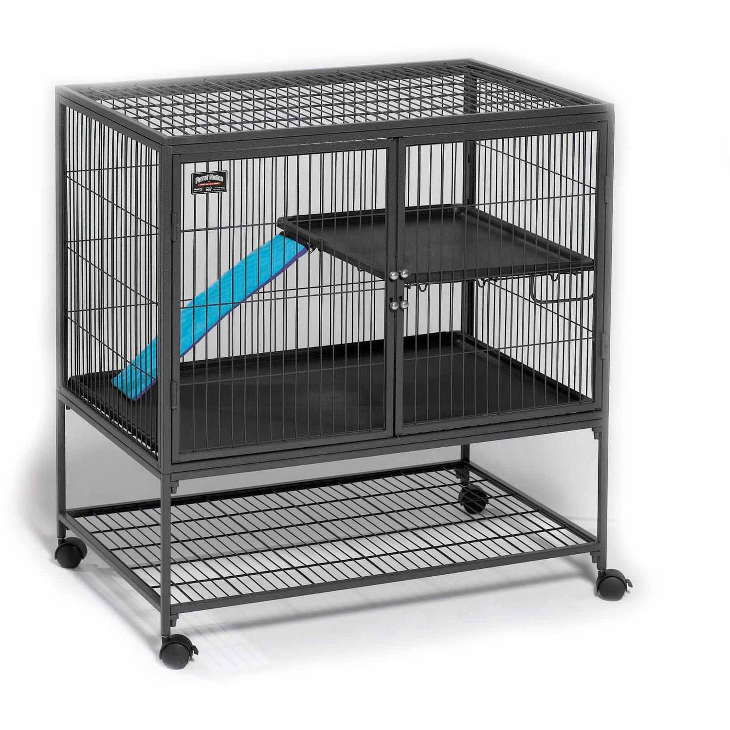 "MidWest Deluxe Ferret Nation Single Unit Ferret Cage (Model 181) Includes 1 Leak-Proof Pans, 1 Shelf, 1 Ramps w/ Ramp Cover & 4 locking Wheel Casters, Measures 36""L x 25""W x 38.5""H Inches"