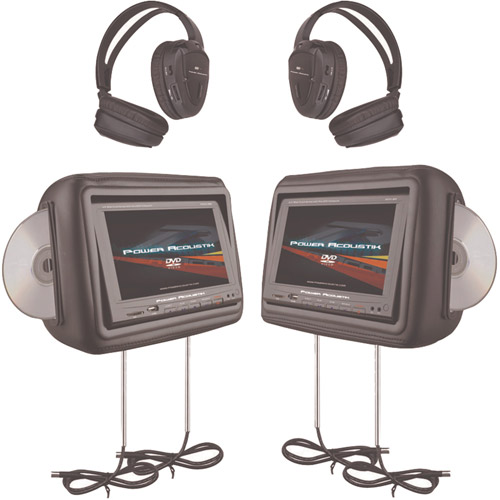 "Power Acoustik (HDVD-9) 8.8"" Preloaded Universal Headrest Monitors with Twin DVD Combo and Headphones"