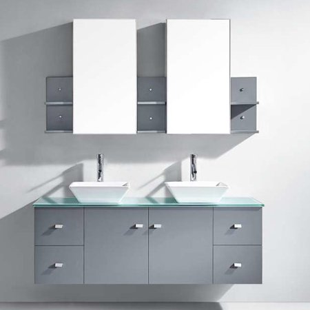 Virtu Usa Clarissa 61  Glass Double Bathroom Vanity Cabinet Set In Espresso