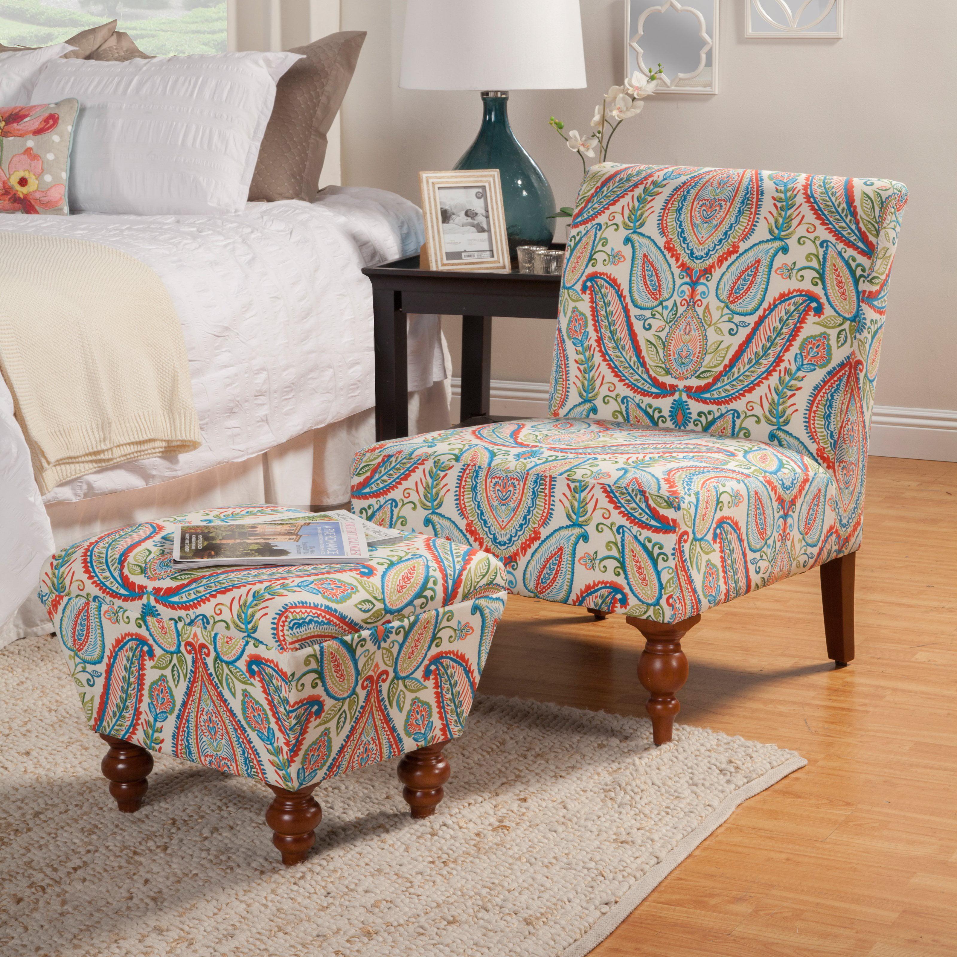 HomePop Susan Armless Accent Chair  Ottoman Set by HomePop
