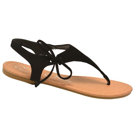 cbf905aa2b06f Bella Marie Adult Black Lace Up T-Strap Thong Flip Flop Sandals ...