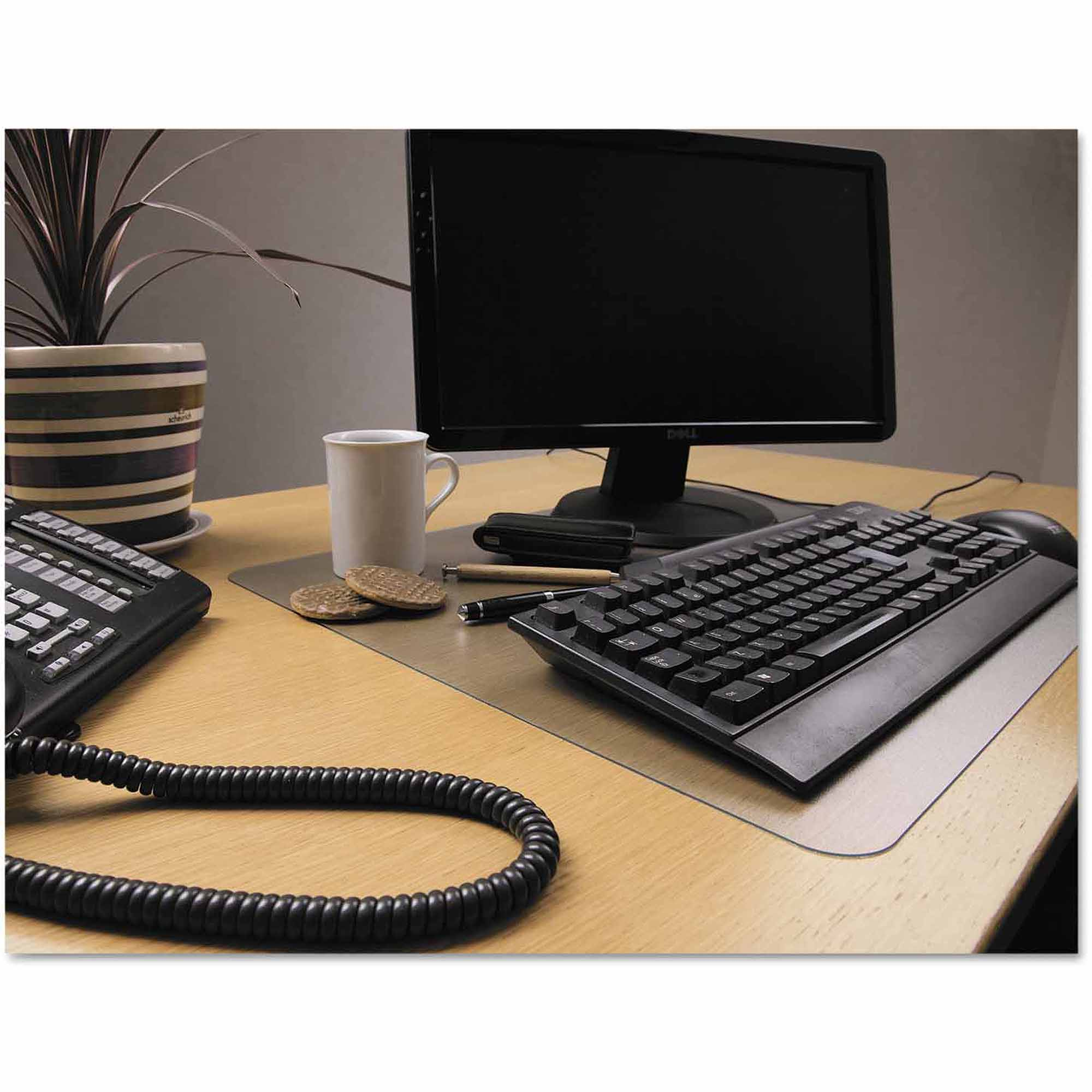 "Floortex Desktex Polycarbonate Anti-Slip Desk Mat, 22"" x 17"", Clear"
