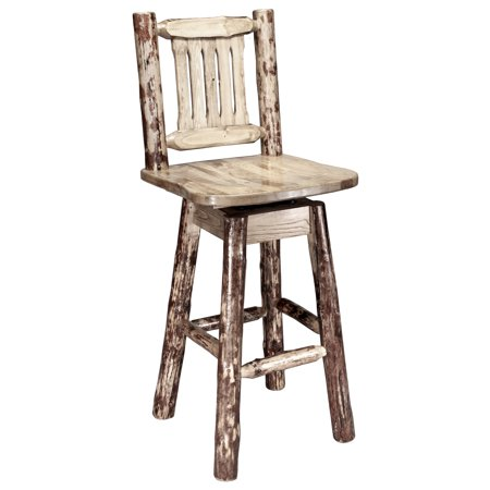 Glacier Country Collection Barstool w/ Back & Swivel ()