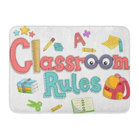GODPOK ABC School Featuring The Words Classroom Rules Preschool Book Rug Doormat Bath Mat 23.6x15.7 inch (Classroom Door)