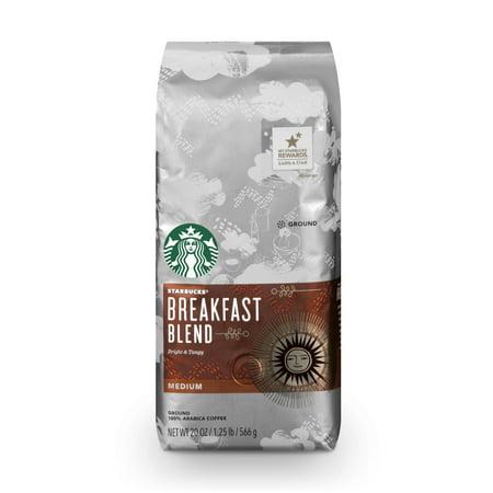 Starbucks Breakfast Blend Medium Roast Ground Coffee, 20-Ounce