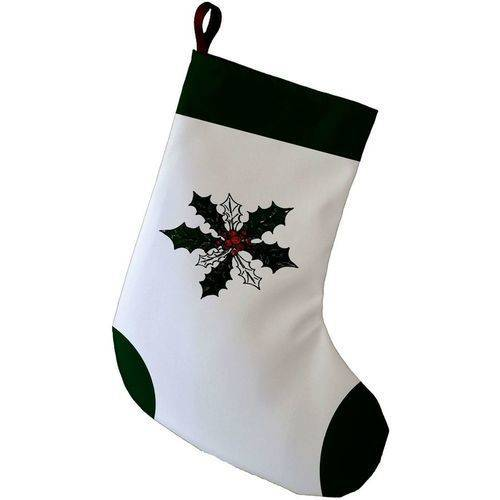 E By Design Simply Daisy, 9 x 16, Holly Wreath, Decorative Holiday Floral Print Stocking