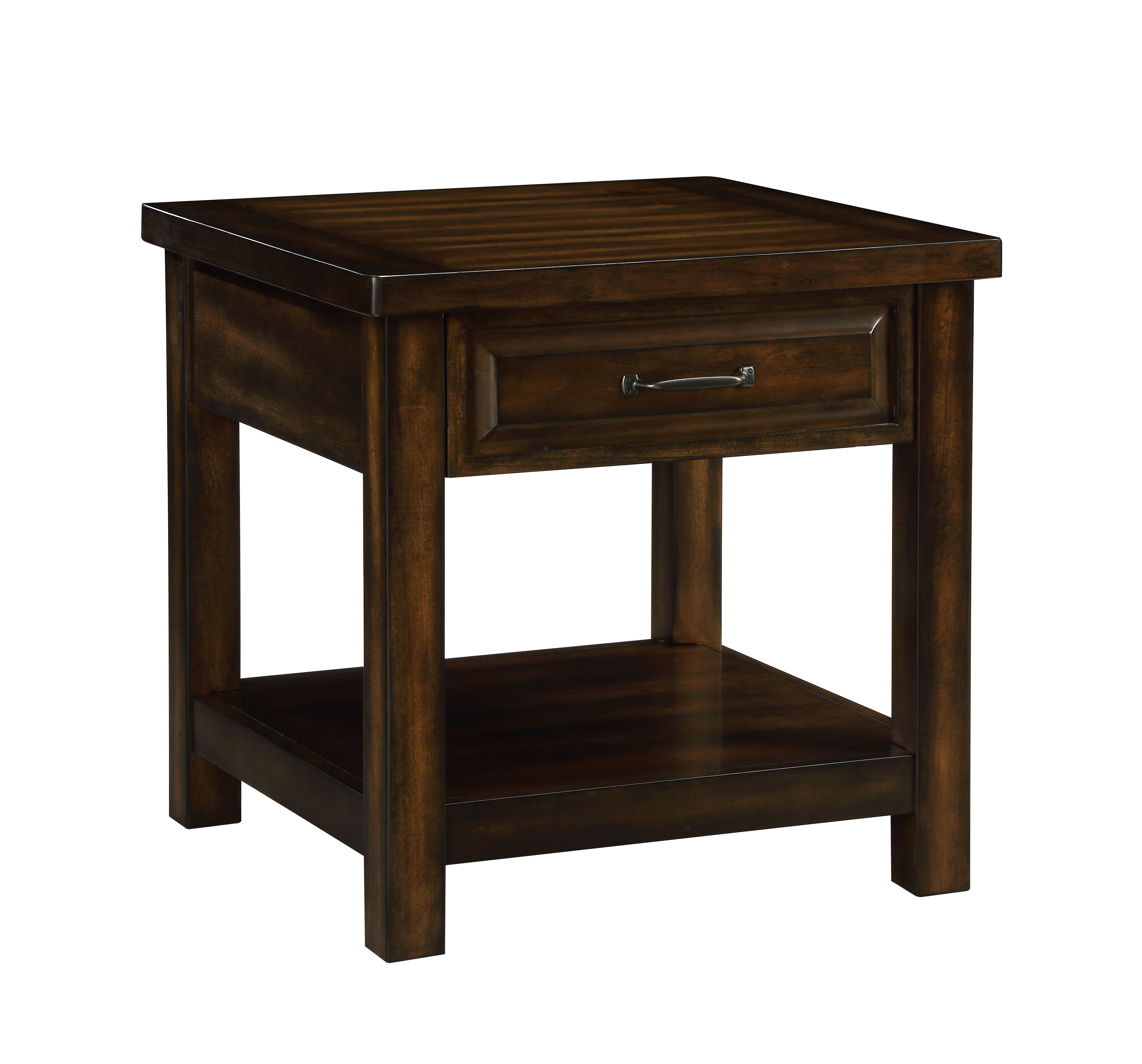 ACME Mucia 1 Storage Drawer and 1 Shelf End Table in Walnut