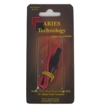 Aries A-411 Heavy Duty Inline Auto Fuse Holder With 3 Amp Glass Fuse