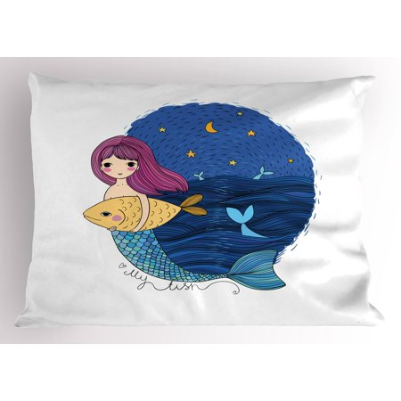 Fantasy Pillow Sham Hand Drawn Style Mermaid Holding a Fish on Backdrop with Seascape at Night Time, Decorative Standard Queen Size Printed Pillowcase, 30 X 20 Inches, Multicolor, by Ambesonne ()
