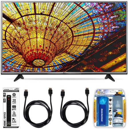LG 65UH6030 – 65-Inch 4K UHD Smart LED TV w/ webOS 3.0 Essential Accessory Bundle includes TV, Screen Cleaning Kit 6 Outlet Power Strip with Dual USB Ports and 2 HDMI Cables