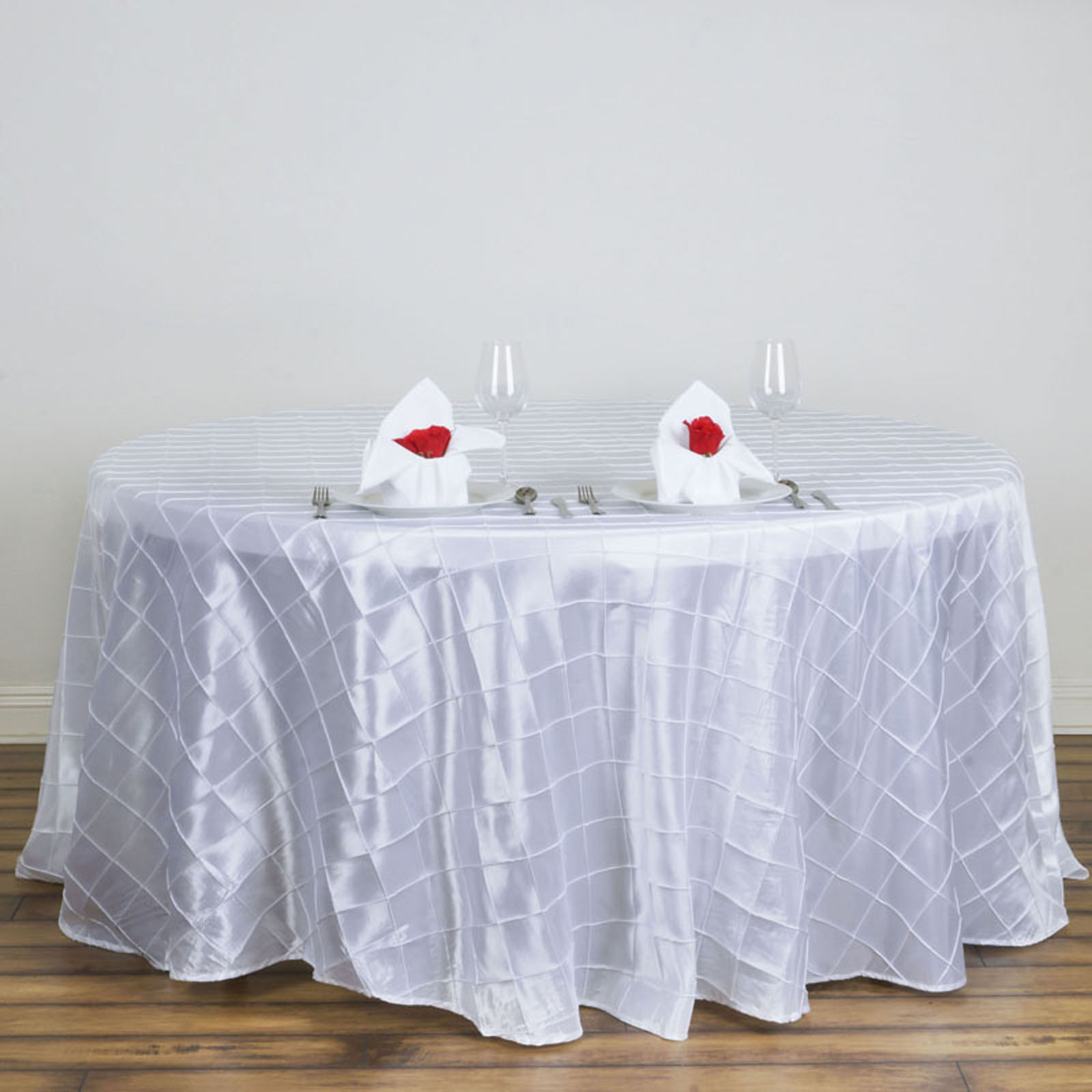 "Efavormart Pintuck Tablecloths 120"" Round for Kitchen Dining Catering Wedding Birthday Party Decorations Events"