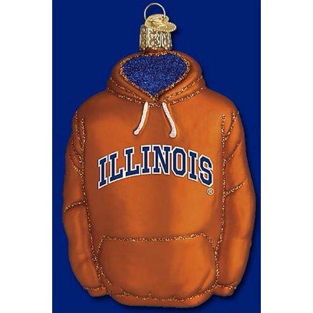 Old World Christmas University of Illinois Fighting Illini Hoodie Glass Ornament ()