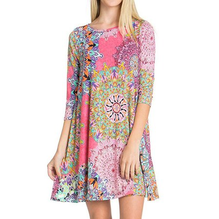 Nlife Women 3/4 Sleeve Ethnic Floral Print Mini Dress with Pockets