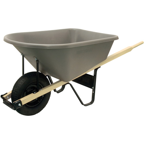 Ames AMECP6 Jackson 6cf Heavy Duty Wheelbarrow with Poly Tray