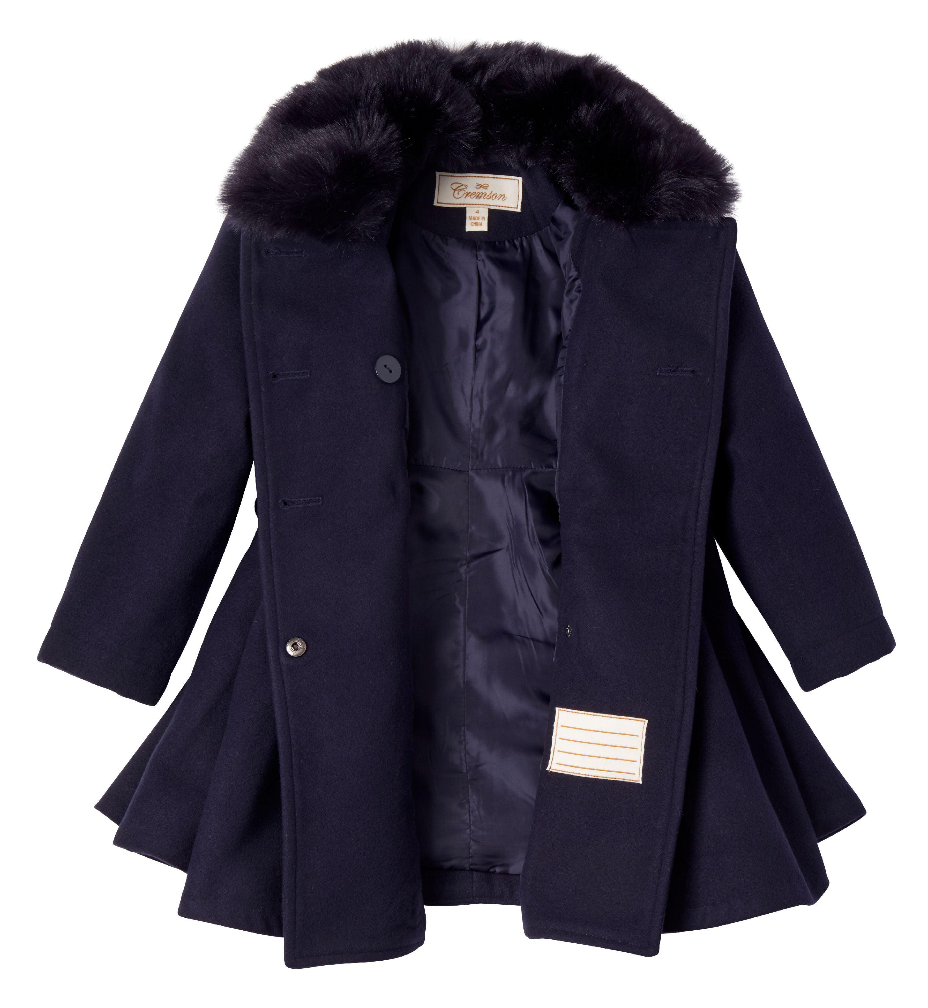 Cremson Girl Wool Look Winter Princess Bow Dress Pea Coat Jacket Faux Fur Collar