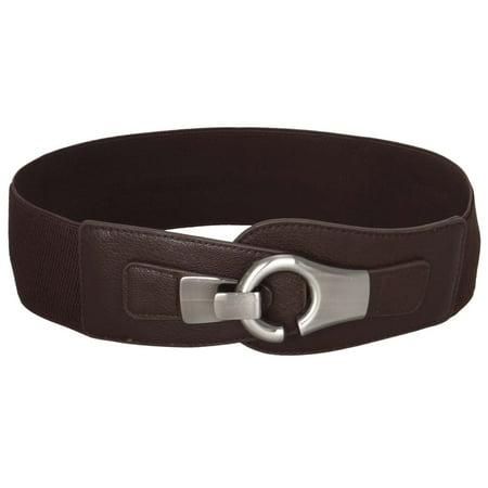 Cotton Elastic Waist Belt - BMC Wide High Waist Silver Metal Hook Eyelet Locking Buckle Elastic Fashion Belt