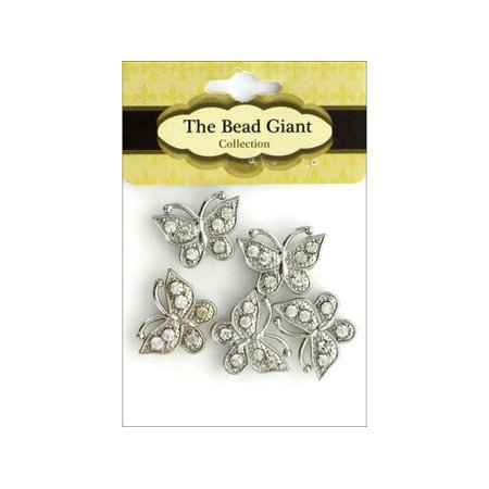 The Bead Giant Bead Spacer Butterfly 5pc Silver](Butterfly Beads)